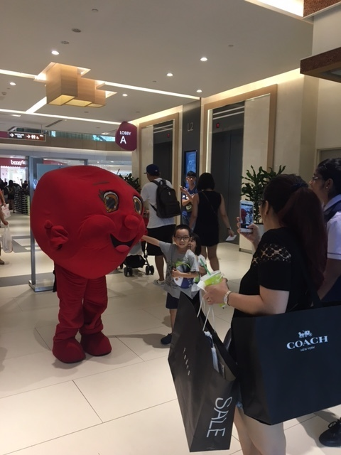 Blood Buddy, our mascot, is the centre of attraction wherever he moves!.JPG